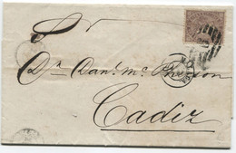 1869. Sobrescrito De Málaga A Cádiz, Llegada - Briefe U. Dokumente