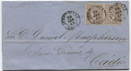 1869. Sobrescrito De Jerez A Cádiz, Doble Porte Y Fechador De 1854 - Briefe U. Dokumente