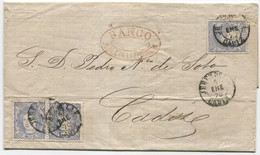 1870. Envuelta De Triple Porte De Jerez A Cádiz, Fechador De 1854. - Cartas