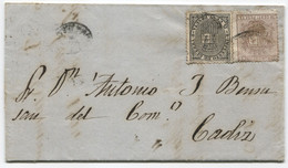 1874. Sobrescrito De Cervera De Río Alhama A Cádiz, Con Llegada - Lettres & Documents