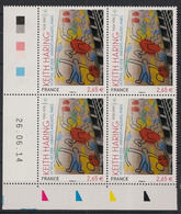 France - 2014 - N° Yv. 4901 - Keith Haring - Bloc De 4 Coin Daté - Neuf Luxe ** / MNH - 2010-....