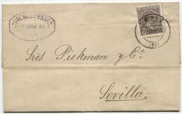 1890. Sobrescrito De Cádiz A Sevilla, Con Llegada - Briefe U. Dokumente