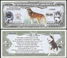!!! USA - FANTASY NOTE -  SIBERIAN  HUSKY  CERTIFICATE , 2016 - UNC / SERIES  K 9 - Other