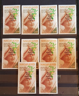 NAGALAND 85TH BIRTHDAY OF H.M. QUEEN ELIZABETH THE Q. MOTHER LOT 10 MINI BLOCKS IMPERFORED OVERPRINT MNH. - Familias Reales