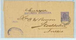 94044 - ARGENTINA - POSTAL HISTORY - STATIONERY WRAPPER # Faj 14  To SWEDEN  ! - Ganzsachen