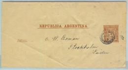 94045 - ARGENTINA - POSTAL HISTORY - STATIONERY WRAPPER # Faj 10  To SWEDEN  ! 1891 - Ganzsachen