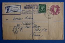 L11 GRANDE BRETAGNE BELLE LETTRE RECOM. 1956 HAMSTEAD POUR NICE + AFFRANCHISSEMENT INTERESSANT - Covers & Documents
