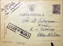 "ROUMANIE / ROMANIA 1943 (25/07) ""5 Cenzurat Valcea 5"" (Rimnicu Vilcea) On P.Card - Briefe U. Dokumente"
