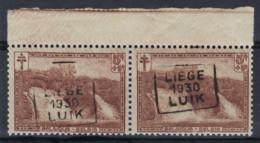 Nr. 293 (2 X) ** MNH Met BLADBOORD Voorafgestempeld Nr. 5929  C  LIEGE  1930  LUIK  ; Staat Zie Scan ! - Roulettes 1930-..