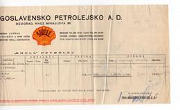 1930. SHELL,KINGDOM OF SHS,SERBIA,BELGRADE,PETROL BILL,1 STATE REVENUE - Briefe U. Dokumente
