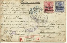 1916 Carte Censurée Recommandée De Charleroi à Vlissingen Réexpédiée à Sens S/ Yvonne - [OC1/25] General Gov.