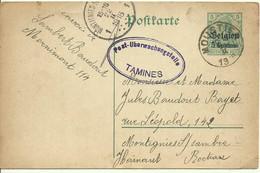 1916 Carte Censurée De Moustier à Montignies S/ Sambre  Censure Tamines - [OC1/25] General Gov.