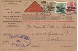 """1916 Carte C/ Rembours Censurée De Bruxelles Vers Nivelles Censure Brüssel  Journal """"La Belgique"""" - [OC1/25] General Gov."""