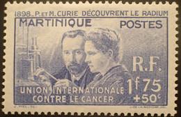 R2452/211 - 1938 - COLONIES FR. - MARTINIQUE - PIERRE Et MARIE CURIE DECOUVRENT LE RADIUM - N°167 NEUF* - Neufs