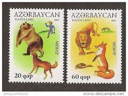 """AZERBAIJAN - EUROPA 2010 -TEMA ANUAL """" LIBROS INFANTILES"""".- SERIE 2 V: -  DENTADOS (PERFORATED) - 2010"""