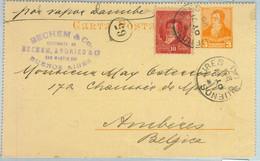 94042 - ARGENTINA - POSTAL HISTORY - STATIONERY LETTER CARD To  BELGIUM 1895 - Ganzsachen
