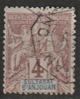 Anjouan N° 3, Oblitération Ligne Maritime - Oblitérés