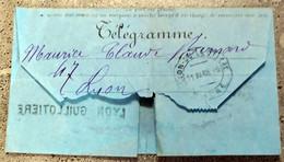 Télégramme 1889 Cachet Télégraphique LYON GUILLOTIERE - Télégraphes Et Téléphones