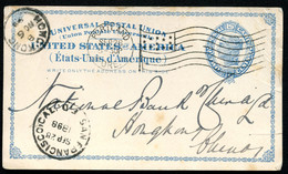 UX6 Postal Card SP-4 Portland OR Flag Cancel To HONGKONG CHINA 1898 - ...-1900