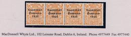 Ireland 1923 Harrison Coils Saorstat 3-line Overprint On 2d Orange Horizontal Strip Of Four Mint Unmounted - Unused Stamps