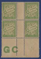 France Taxe N°30a** Bloc De 4 Avec Manchette GC Fraicheur Postale - 1859-1955 Neufs