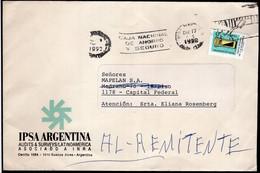 Argentina - 1992 - Lettre - Circulé - Taux Interne Jusqu'à 10 Grs - Bandeleta Parlante - A1RR2 - Lettres & Documents