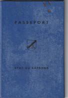 EXTREMELY RARE: KATANGA STATE Passport 1962 Passeport ETAT DU KATANGA – Reisepaß - Historical Documents