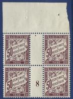 France Taxe N°37a** Bloc De 4 Millésimé GC 8 Lilas Sur Jaune Fraicheur Postale - 1859-1955 Neufs