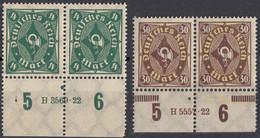 DEUTSCHES REICH - 1922/1923 - Lotto Di 2 Coppie Di Valori Nuovi MNH: Yvert 202 E 207 Con Margini Di Foglio Numerati. - Neufs