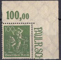 DEUTSCHES REICH - 1922- Yvert 170 Nuovo MNH In Angolo Di Foglio Con Margine Numerato. - Neufs