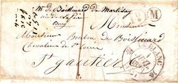 Cachet 12 LE BLANC Indre 1838 Lettre BOITE RURALE  M = LA CHAILE , Long Texte , TTB - 1801-1848: Vorläufer XIX
