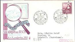 MATASELLOS 1953  SAN ADRIA DEL BESOS  CERTIFICADO - 1951-60 Lettres