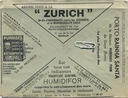 Old Envelope With Publicité: ZURICH Assurance - Punaises Extermina-Porto Rainha Santa-chauffage Central - Verso Olivetti - Briefe