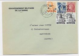 MAZELIN 1FR MIXTE SAAR 60C+10CX2+16 PF LETTRE ENTETE GOUVERNEMENT MILITAIRE DE LA SARRE SAARBRUCKEN 27.11.1947 - 1945-47 Cérès De Mazelin