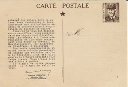 1941- Carte Postale E P Pétain  Adressée Aux Français De Vichy Le 2 Nov. 1941 - Guerra De 1939-45