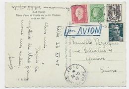 MAZELIN 80C+ 10C CHAINE + DULAC 1FR50 + 2FR GANDON CARTE AVION LILLE GARE 24.11.1945 POUR SUISSE TARIF RARE - 1945-47 Cérès De Mazelin