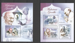 CA1004 2011 CENTRAL AFRICA CENTRAFRICAINE FAMOUSE PEOPLE GREAT HUMANIST MAHATMA GANDHI 1KB+1BL MNH - Mahatma Gandhi