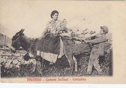 PALERMO-COSTUMI -CONTADINA IN SELLA AD ASINO-ANE-DONKEY-ESEL-CARTOLINA VIAGGIATA IL 25-2-1913 - Palermo