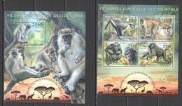 TG613 2013 TOGO TOGOLAISE WILD FAUNA OF WEST AFRICA WILD ANIMALS PRIMATES MONKEYS KB+BL MNH - Monkeys