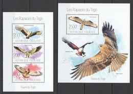 TG625 2013 TOGO TOGOLAISE FAUNA BIRDS OF PREY RAPTORS EAGLES LES RAPACES KB+BL MNH - Arends & Roofvogels