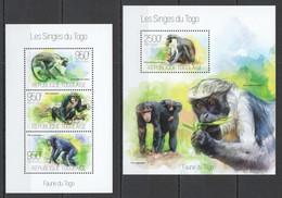 TG631 2013 TOGO TOGOLAISE FAUNA WILD ANIMALS PRIMATES MONKEYS LES SINGES KB+BL MNH - Monkeys