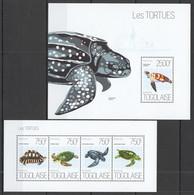 TG638 2013 TOGO TOGOLAISE FAUNA REPTILES MARINE LIFE SEA TURTLES LES TORTUES KB+BL MNH - Schildkröten