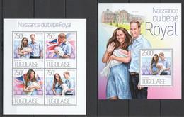 TG691 2013 TOGO TOGOLAISE ROYAL BABY PRINCE GEORGE WILLIAM & KATE MIDDLETON KB+BL MNH - Royalties, Royals