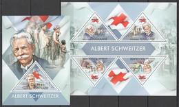 TG697 2013 TOGO TOGOLAISE RED CROSS ALBERT SCHWEITZER KB+BL MNH - Albert Schweitzer