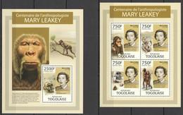 TG737 2013 TOGO TOGOLAISE FAUNA PREHISTORIC LIFE ANTHROPOLOGY MARY LEAKEY KB+BL MNH - Preistorici