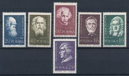 POLEN / POLAND / POLSKA  -  1959  ,  Darwin , Mendelejew , Einstein , Pasteur , Newton , Kopernikus  -  Michel 1132-1137 - Ongebruikt