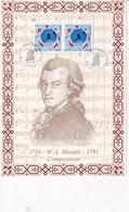 Mozart Feuillet Illustré Sur Soie N°174 Collection Personnages Célèbres Numéroté 1062 / 1300 - 1990-1999