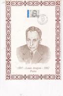 Louis Aragon 1992 Feuillet Illustré Sur Soie N°170 Collection Personnages Célèbres Numéroté 0249/ 1300 - 1990-1999