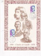 Charles De Gaulle 1990 Feuillet Illustré Sur Soie N°167 Collection Personnages Célèbres Numéroté 0576/ 3000 - 1990-1999
