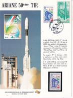 Ariane 50 Eme Tir 1992 Feuillet Illustré Oeuvres Sociales Du Personnel Des PTT Kourou - 1990-1999